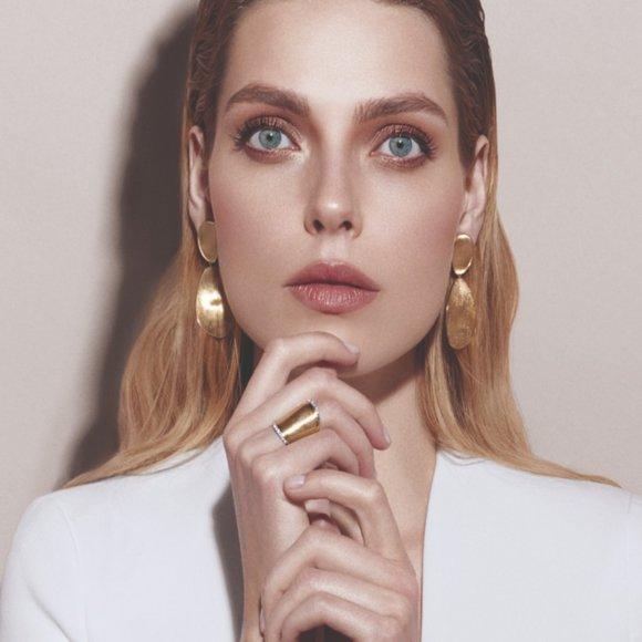 Double Drop Yellow Gold Tone Earrings